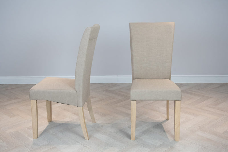 Harlow High Back Natural Cream Fabric Dining Chair