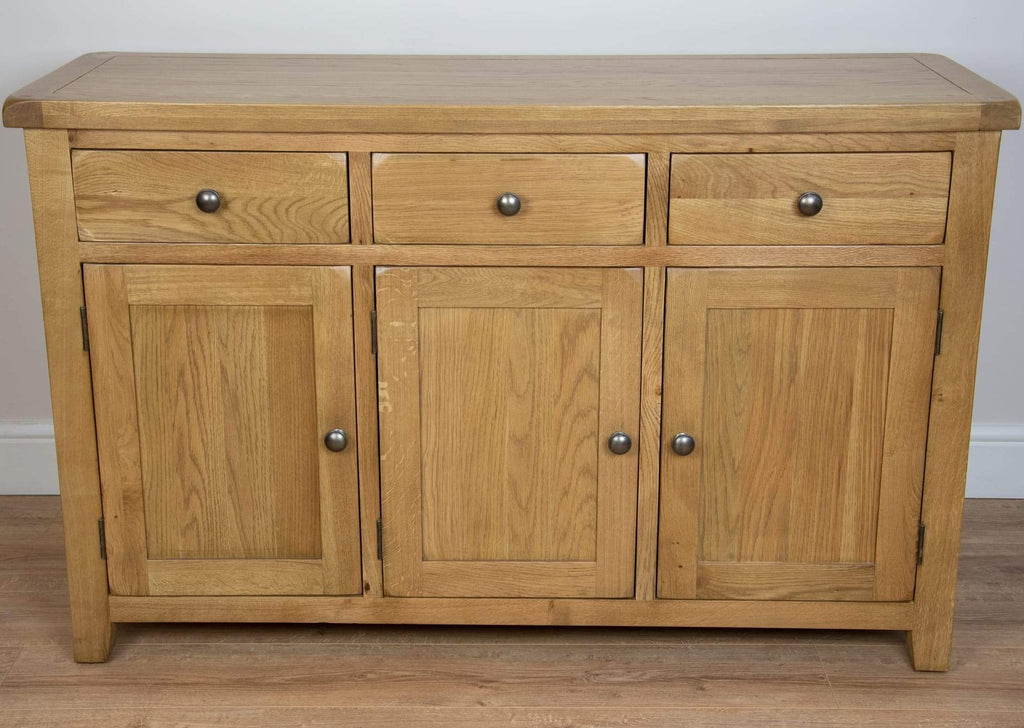 solid oak 3 door draws dining living room sideboard cabinet unit storage furniture