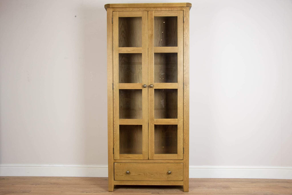 solid oak glass 2 door dining living room display cabinet unit storage furniture