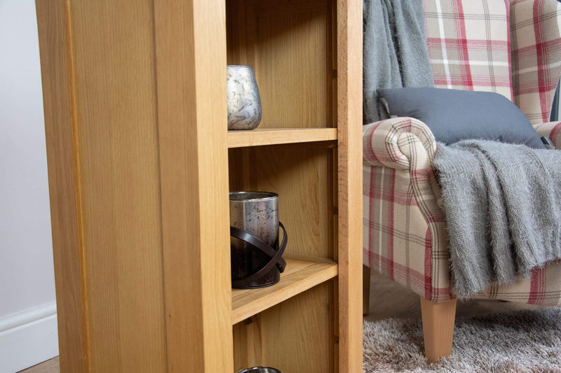 solid oak hall way office living room small slim bookcase shelving unit dvd storage furniture