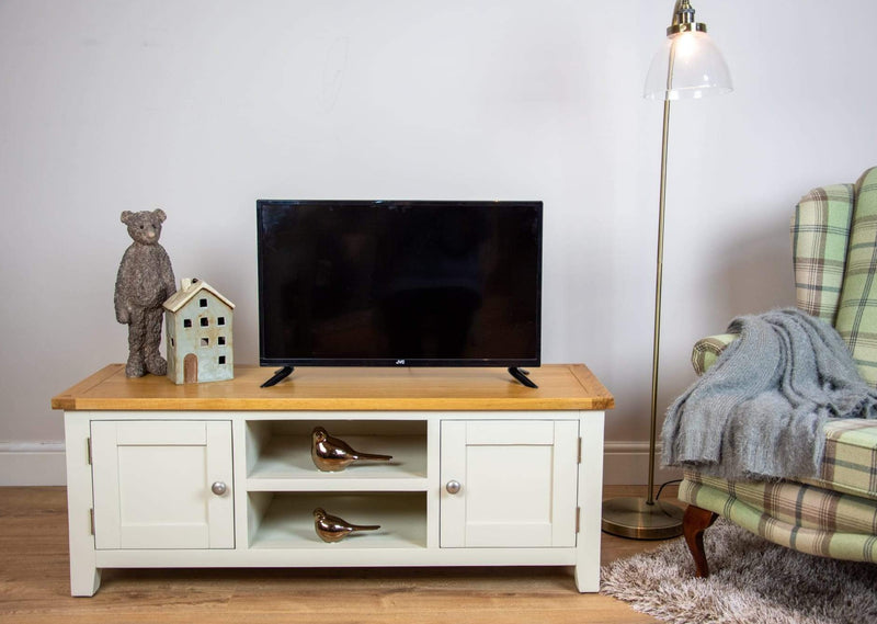 solid oak ivory cream painted living room tv plasma unit furniture storage