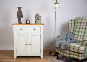 solid oak ivory cream painted living room hallway furniture cabinet sideboard storage unit