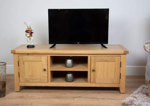 solid oak living room wide tv unit sideboard furniture storage