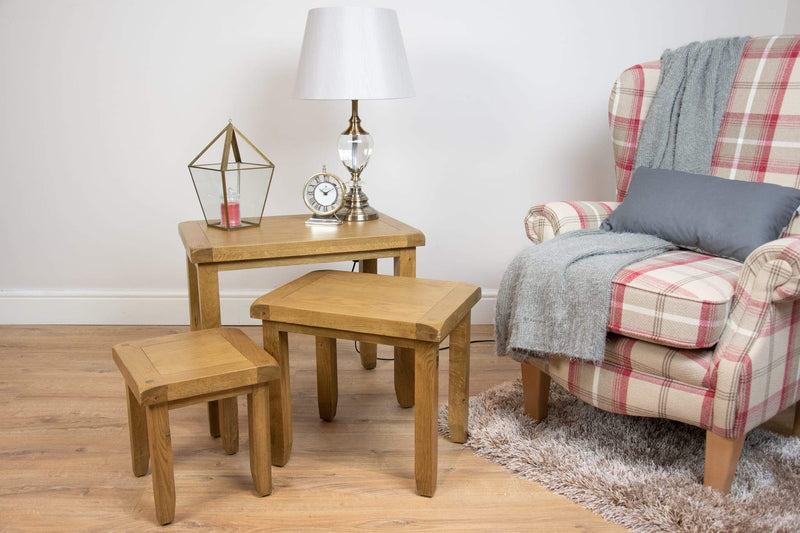solid oak side nest of tables lamp table living room furniture