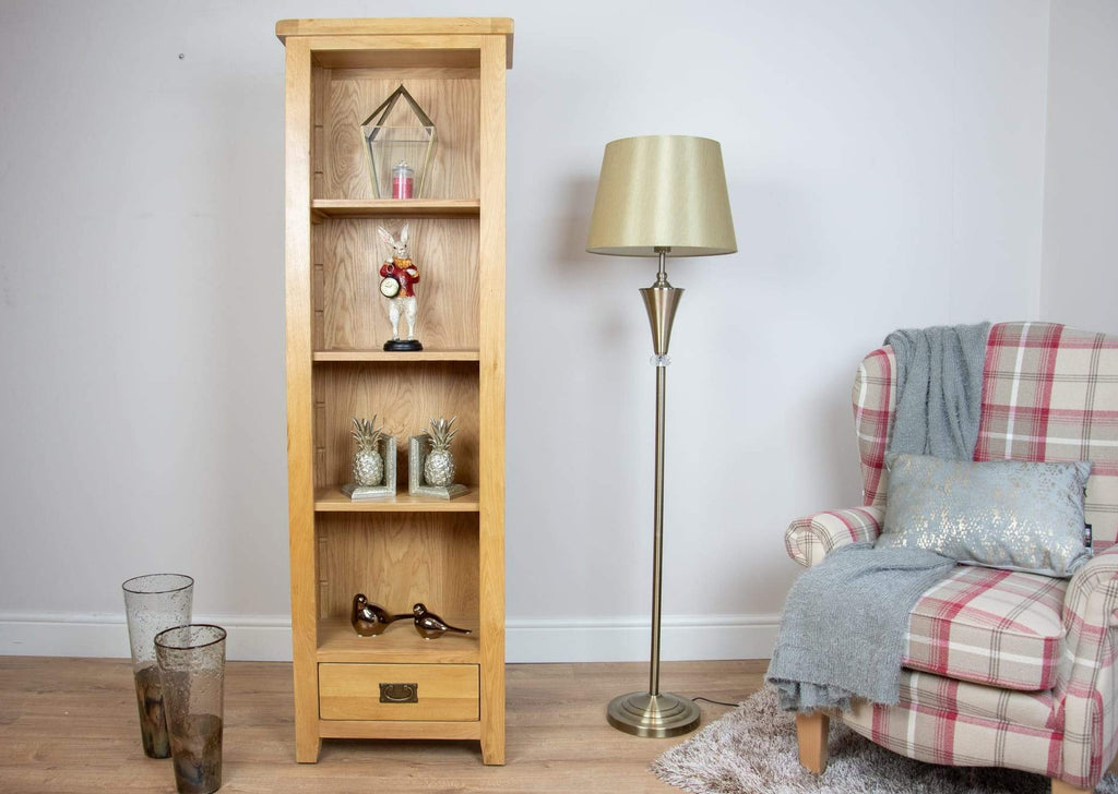solid oak hall way dining office living room small bookcase shelving unit storage furniture