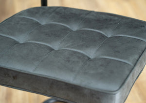 square stitched grey dining chair cantilever base