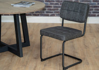 Hoxton Grey Retro Style Dining Chair With Cantilever Black Metal Leg