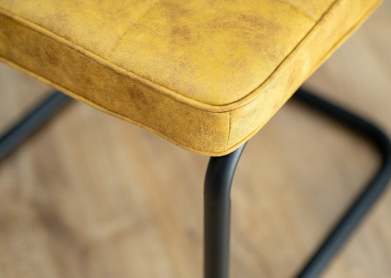 Hoxton Mustard Yellow Retro Style Dining Chair With Cantilever Black Metal Leg