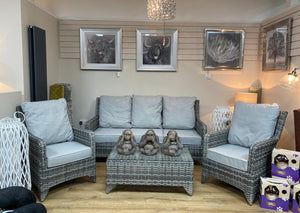 'Sorrento' 5 Seater Lounge Set With Coffee Table In 2 Tone Grey With Grey Cushions