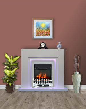 Modern White Flat Wall 2KW Electric Fire Surround Fireplace with LED Light- With Chrome Electric Fire