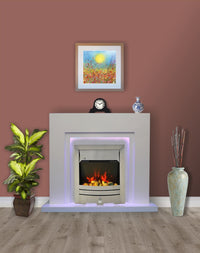 Modern White Flat Wall 2KW Electric Fire Surround Fireplace with LED Light- With Brushed Steel Electric Fire