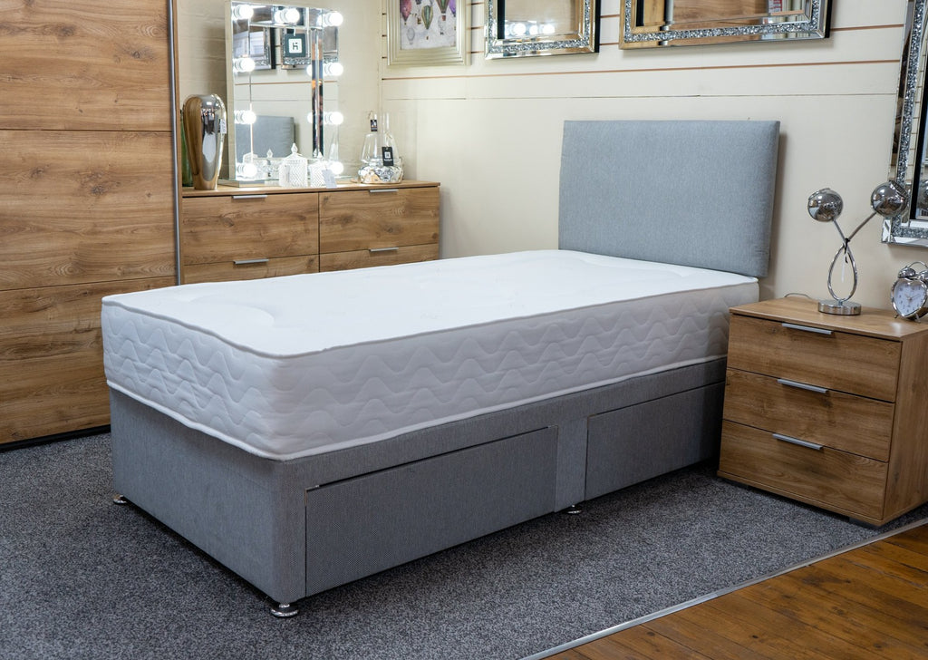 Silver Grey Divan Bed Base and Mattress package including headboard. Beds and Bedroom Furniture Sowroom Shop Store Sedgley, Dudley Wolverhampton Stourbridge West Midlands