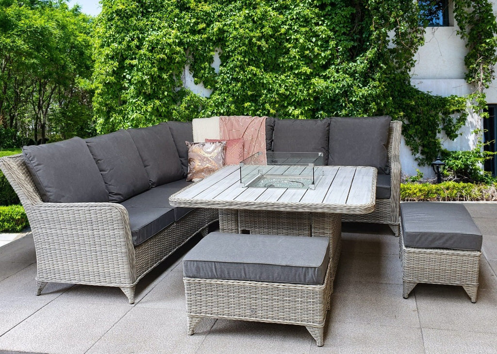 'Maldives' Rattan Corner Sofa Set With Fire Pit Table Creamy Grey Mixed Weave Garden Furniture