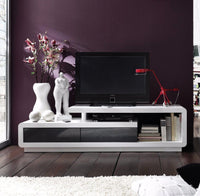 ModaNuvo White & Grey High Gloss TV Unit Cabinet Stand Lowboard With 2 Drawers