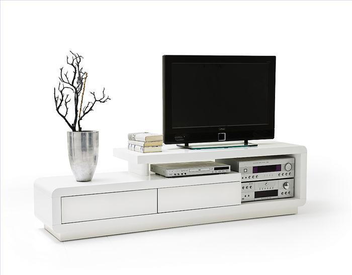 ModaNuvo White High Gloss TV Unit Cabinet Stand Lowboard With 2 Drawers