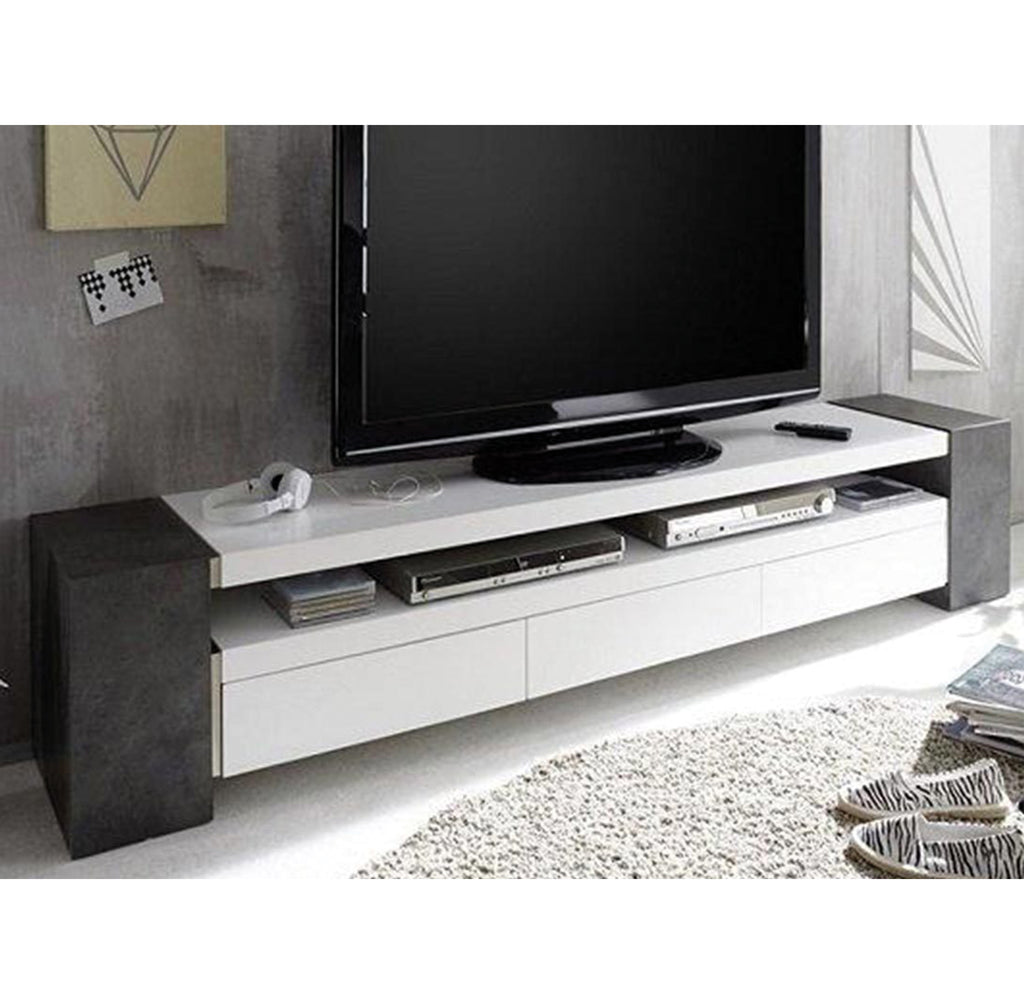 "ModaNuvo ""Jule"" TV Unit in Grey Concrete and White Matt Lacquered Shelves"