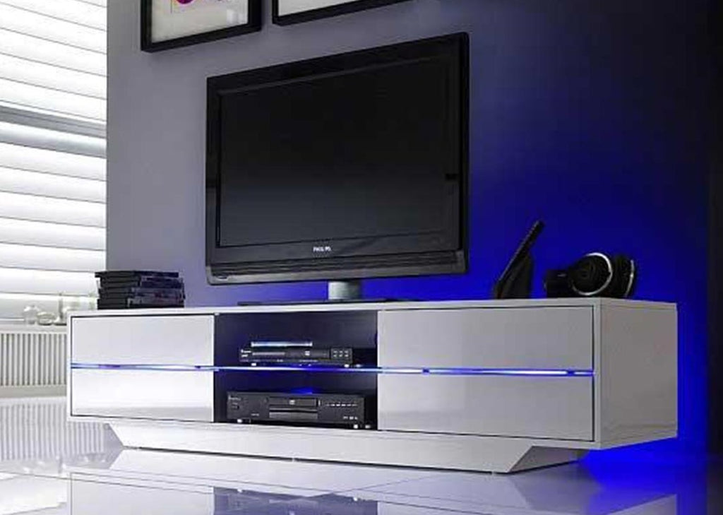 "ModaNuvo ""Blues"" TV Unit in High Gloss with Multi LED Lights and 4 drawers"