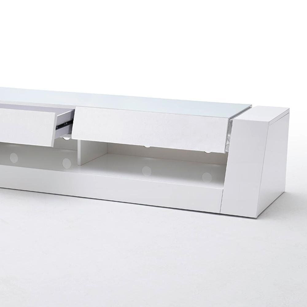 ModaNuvo 'Front I' White Gloss TV Unit with Drawers and Glass Top