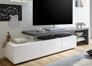 ModaNuvo 'Alimos' Large White Grey Concrete Solid Oak Glass Modern TV Unit Cabinet Stand