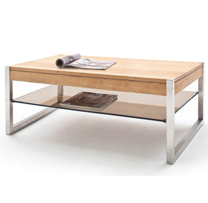 ModaNuvo 'Migel' Modern Solid Oak Coffee Table Glass Shelf Stainless Steel Metal Legs