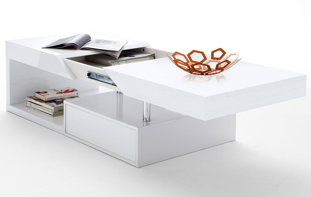 ModaNuvo 'Hope' Modern White Gloss Extending Storage Coffee Table With Drawer
