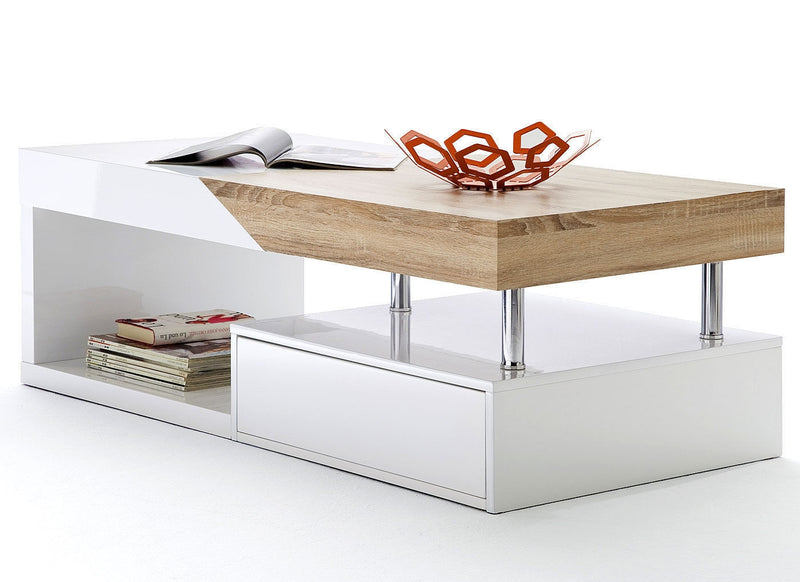 Modanuvo Modern White Gloss Oak Extending Storage Coffee