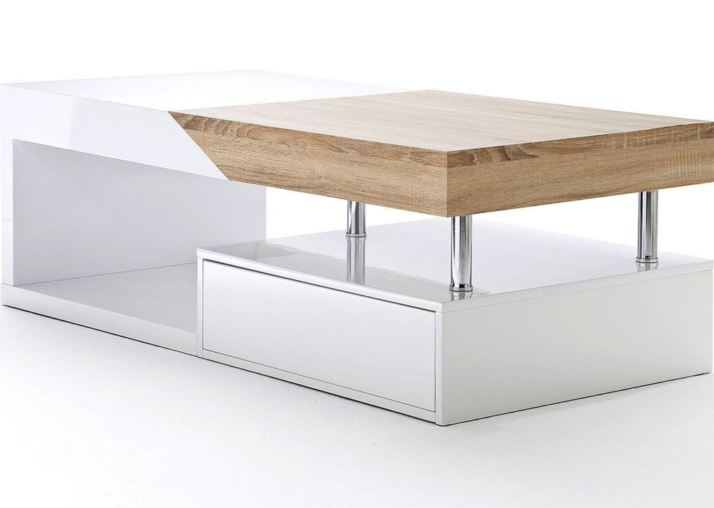 ModaNuvo 'Hope' Modern White Gloss & Oak Extending Storage Coffee Table With Drawer