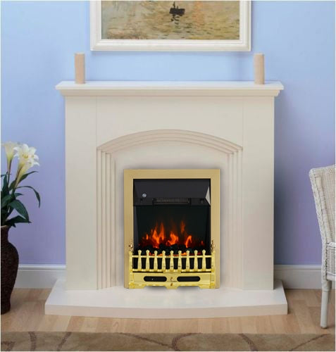 Modern Cream Inset Electric Fire Surround Set Complete Fireplace Package Suite- with Brass Fire