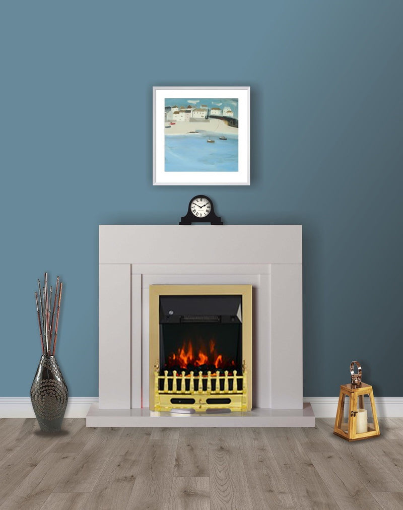 Modern White Flat Wall 2KW Electric Fire Surround Set Complete Fireplace- with Brass Fire