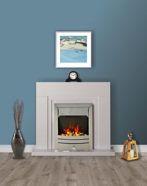 Modern White Flat Wall 2KW Electric Fire Surround Set Complete Fireplace- with Brushed Steel Fire