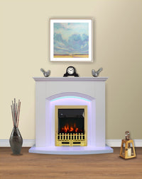 White Flat Wall 2KW Electric Fire Surround Set Complete Fireplace with LED Light- With Brass Fire