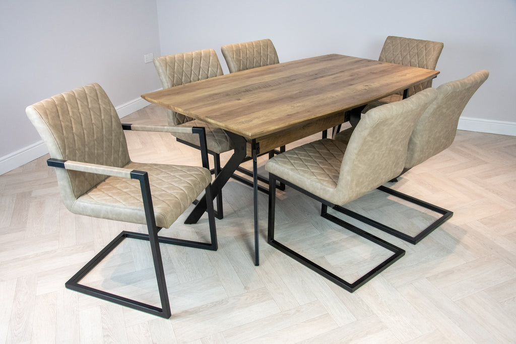 Elliot Industrial 6 Seater Dining Set Metal Frame Oak Top Table & 6 Taupe Vintage Leather Dining Chairs