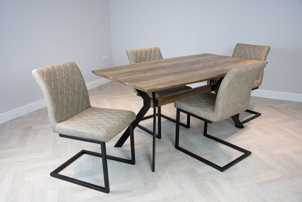 Elliot Industrial 4 Seater Dining Set Metal Frame Oak Top Table & 4 Taupe Vintage Leather Dining Side Chairs