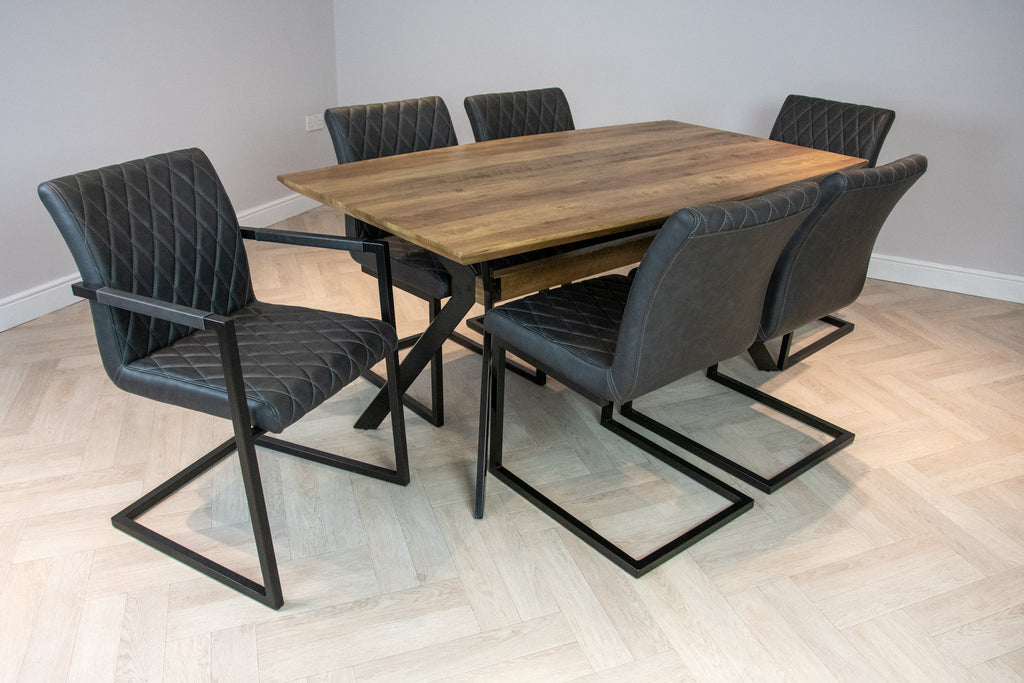 Elliot Industrial 6 Seater Dining Set Metal Frame Oak Top Table & 6 Grey Vintage Leather Dining Chairs