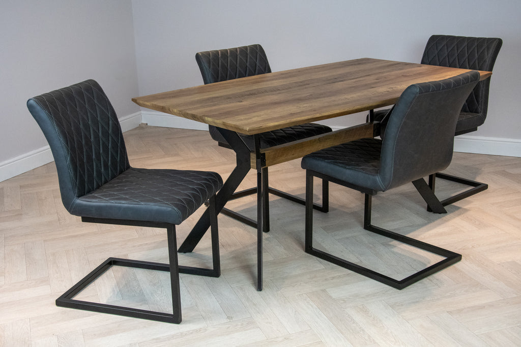 Elliot Industrial 4 Seater Dining Set Metal Frame Oak Top Table & 4 Grey Vintage Leather Dining Chairs