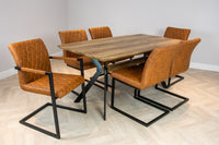 Elliot Industrial 6 Seater Dining Set Metal Frame Oak Top Table & 6 Tan Vintage Leather Dining Chairs
