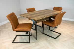 Elliot Industrial 4 Seater Dining Set Metal Frame Oak Top Table & 4 Tan Vintage Leather Dining Side Chairs