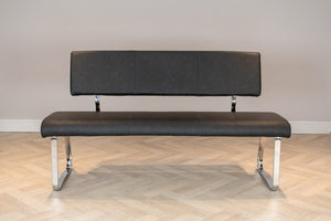 Modern Chrome Frame Upholstered Leather Dining Bench with Backrest, Grey