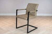 Industrial Style Metal Frame Upholstered Leather Dining Carver Chair, Taupe