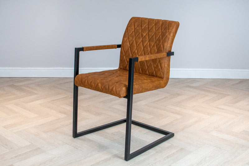 Industrial Style Metal Frame Upholstered Leather Dining Carver Chair, Tan Brown