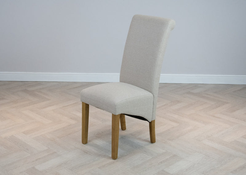 Oakwood Living Scroll Top High Back Natural Cream Fabric Chair