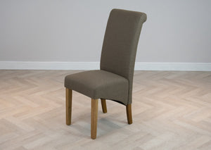 Brown Fabric Upholstered Scroll High Back Dining Chair