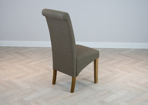 High back brown fabric scroll top dining chair