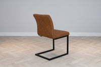 Industrial Style Metal Frame Upholstered Leather Dining Side Chair, Tan Brown