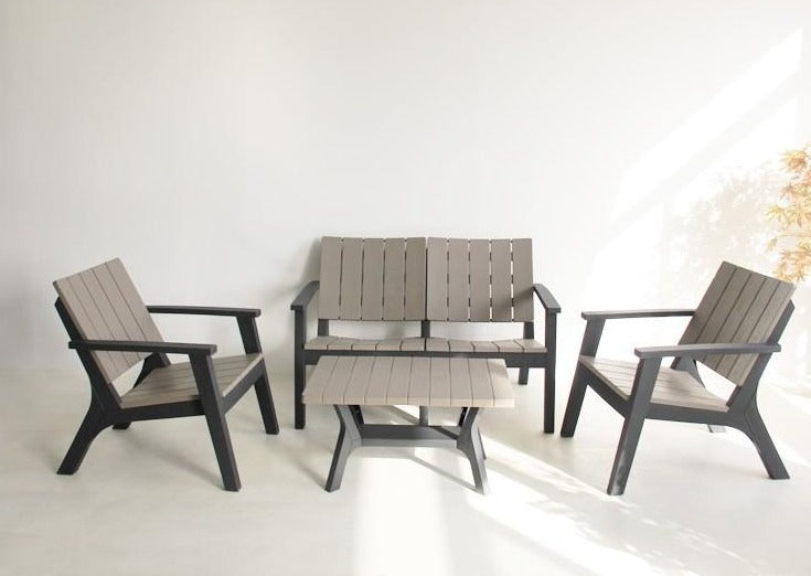 'Paris' Black and Grey 4 Seat Sofa Coffee Table Garden Furniture Lounge Set