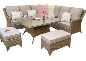 'Sorrento' Corner 7 Seater Dining Set In Natural With Beige Cushions