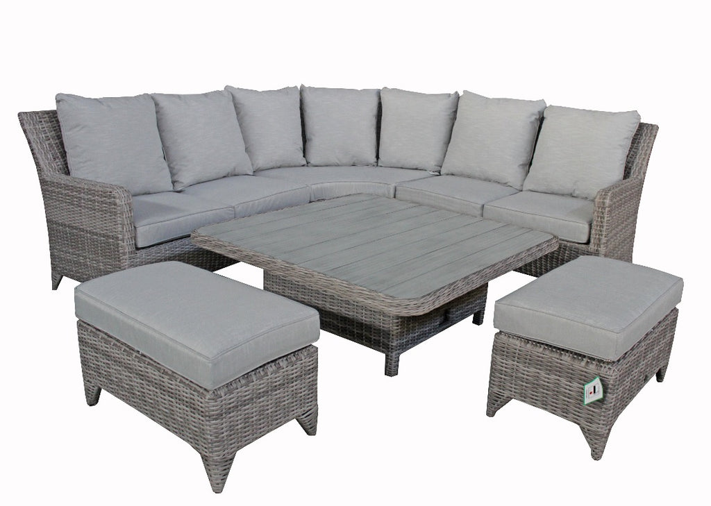 corner sofa rattan garden set with coffee dining table and foot stools