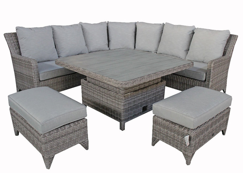 rattan garden furniture patio set gray corner sofa with stools and coffee table
