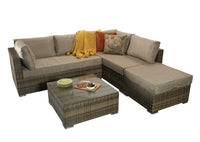 'Gozo' Brown Natural Rattan Garden Furniture Set, Chaise Corner Sofa Coffee Table Aluminium