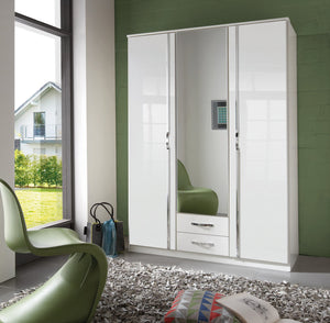 SlumberHaus 'Trio' White Gloss, Chrome & Mirror 3 Door 2 Drawer Wardrobe